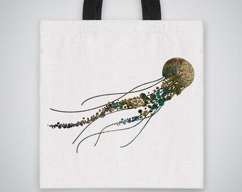 Jellyfish silhouette Tote Bag - Art Tote - Market Bag - Shoulder Bag - Canvas Bag