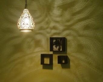 Handmade Hanging Light & Shadow Chandelier Metal Black Color