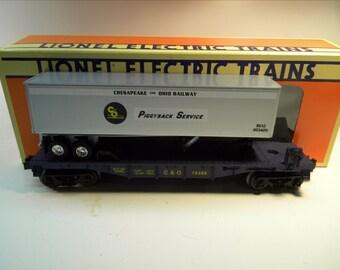Lionel 16398 Chesapeake & Ohio Flat Car and Trailer   O Gauge Train