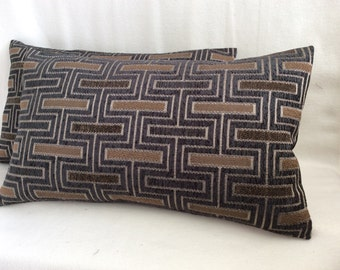 Modern Designer Lumbar Pillow Cover Pair - Charcoal Gray/Tan