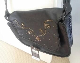 Vintage Urban Leather Black Boho Womens Saddle Bag
