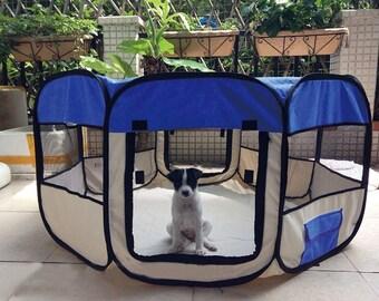 Pet Puppy Playpen Waterproof Dog Cat Guinea Exercise Kennel Pen Portable Pet Puppy Soft Tent Playpen Dog Cat Crate Pen
