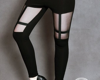 black leggings tulle inverted cross casual gothic nu gorh rock
