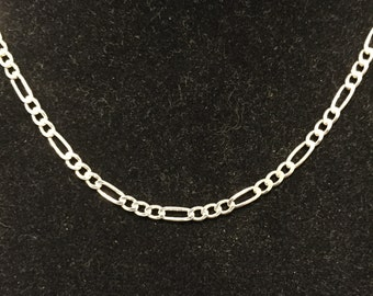 "Sterling 3mm Figaro Chain / Necklace 20"" - AGI Italy - Circa 1980's - Item SN124"