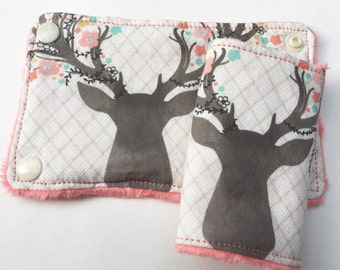 Floral Antlers Car Seat Strap Covers-2 Sizes-Reversible-Coral Minky Dot
