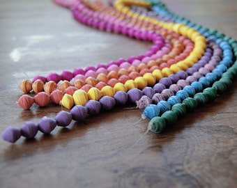 paper beads, recycled paper beads, jewelry beads, recycled bead, jewelry making, 6 strands of recycled color paper beads 10mm