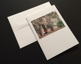Woman in Red. Wall with Vines. Blank Greeting Card. Note Card. Photo Card.