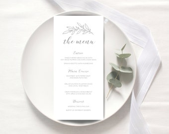 Wedding Menu / Menu printable / digital menu template / customized menu / calligraphy menu card / gold menu / wedding welcome sign custom