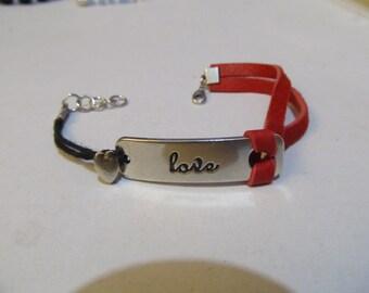 LOVE  Red Leather Bracelet