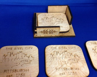 Wooden Laser Cut Cork Back Pittsburgh Coasters Set of Four Plus Holder