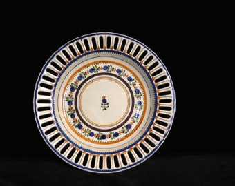 Pierced Portuguese plate-- decorative hand painted and fretted ceramic