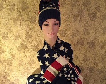 Scarf, Knit Cap and Glove Set in Red White and Blue