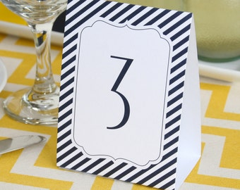 Tent Style Table Numbers For Wedding Reception Or Other Special Event  / Navy Blue Stripes Tent Style Table Number Cards 1 To 40