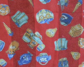 Vintage Anthropomorphic Vegetables Scarf by Symphony Scarfs Italy