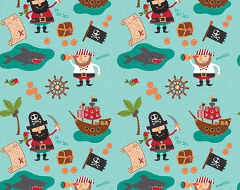 Pirate fabric etsy for Kids pirate fabric