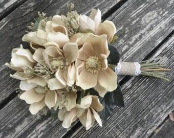 Champagne Magnolia Blossoms Bridal Bouquet