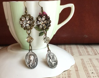 Pray for rhinestones- unique vintage assemblage earrings