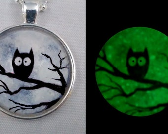 Glow in the Dark Necklace, Owl Necklace, Glow in the Dark Owl Pendant, Owl Jewelry, Owl Pendant,. FREE SHIPPING