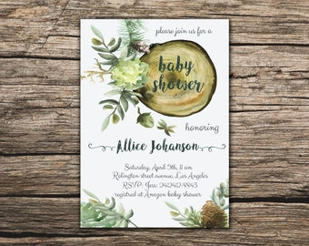 Baby shower invitation Floral wood cut invitation Printable Baby shower invite Floral invitation Wood invitation Wood baby shower invite