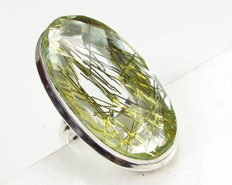 Gold Rutilated Quartz Ring, Size 6 1/2""