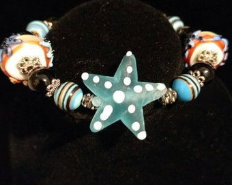 Starfish by the Sea Lampwork Bracelet, Size 6 1/2""