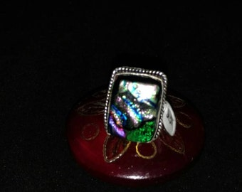 CLEARANCE *Fancy Dichroic Glass Ring Size 7