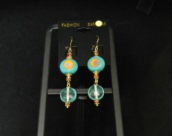 Aqua Green Lampwork Glass Charm Earrings