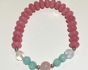 Morganite, Amazonite & Moonstone bracelet