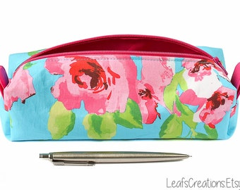 Pencil case Zipper pouch boxy School supplies Makeup bag Flowers Turquoise Blue Pink Green