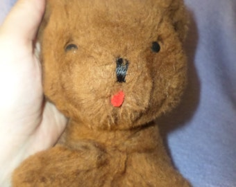Vintage Eden Bear Musical Dark Brown small 0-18 months tag says red tongue  5 1/2""