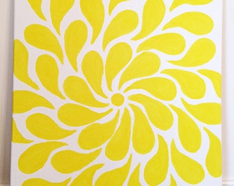 Yellow spiral hand painted art on 16 x 20 canvas