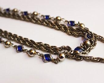 Vintage Blue Chain Necklace