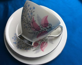 Vintage Royal Albert Fancy Free Pink and Blue Trio (3 available)
