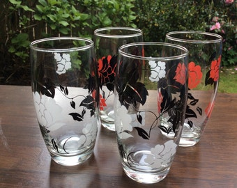 Vintage Tumblers Glasses Set of 4 Red Black White