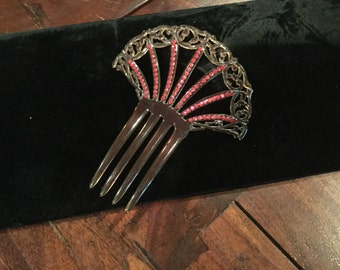 """Vintage CELLULOID Faux TORTOISE HAIRCOMB Flapper Vibrant Red Rhinestones 1920's Hair comb Approx 6"""" x 5"""""""