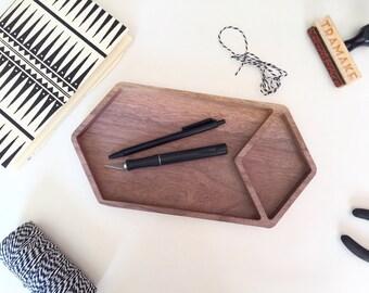 Facets wood catchall, geometric tray, large catchall, valet, walnut, jewelry dish, desk organizer, desk tray