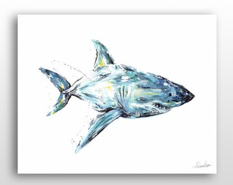 Great White Shark Wall Art, Contemporary Art Shark Painting, Large Limited Edition Art Print