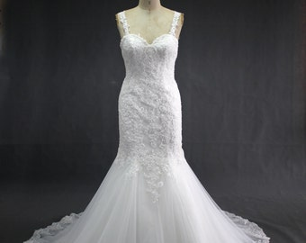 White Hand Sewn Lace Wedding Dress with Low Back