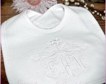 Monogrammed Bib, Personalized all in white for baby girl, Monogram Baptism Bib, Monogrammed Christening Bib