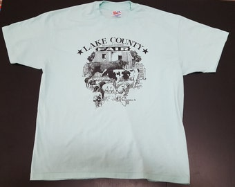 Vintage  1993 Lake County Fair Grayslake Illinois 50/50 hanes graphic tshirt size XL