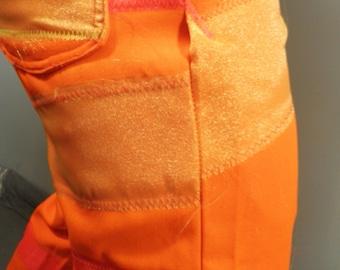 Neon Orange Pants with Neon Applique Stripes  Size M