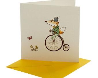 Fox on Bike Blank Card