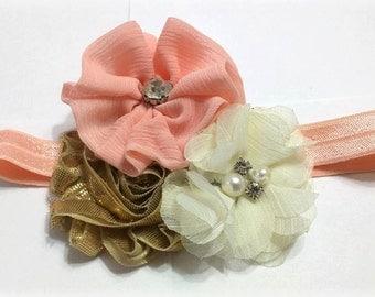 Peach, Ivory Gold Flower Headband for NEWBORN
