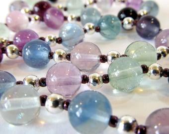 Rainbow Fluorite Beaded Necklace, Purple & Green Semi-Precious Stone Jewelry, Fluorite Necklace Sterling Silver, Pastel Handmade Jewelry
