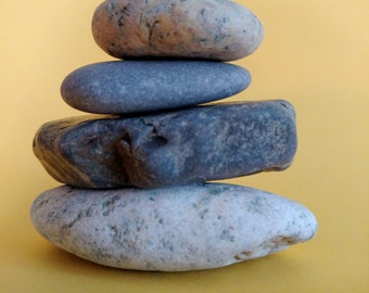 Maine Beach Stone Cairn (c59) Color Rock Stack - Set of 5 Stacked Unique Loose Undrilled Smooth Art Decor Zen Meditation Desk Dorm Room