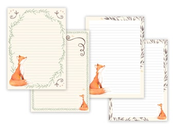 fox printable writing paper stationary paper letter writing set fox note paper printable journal pages fox scrapbooking paper