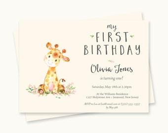 Giraffe Birthday Invitation - First Birthday Invitation - First Birthday Invite - Giraffe Birthday Invite