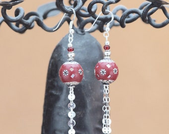 "Sterling silver French earrings ""Moa"" with Cachemire handmade beads."
