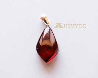 Baltic amber pendant with sterling silver. Cherry color. Natural amber piece. Drop shaped pendant. Amber with sterling. 5719