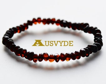 Baltic amber bracelet Cherry color Polished style beads, Amber bracelet, Adults bracelet, Genuine Amber beads, 18 cm lenght, 5560